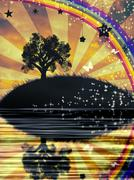 Lonely Tree at Sunset Stock Illustration