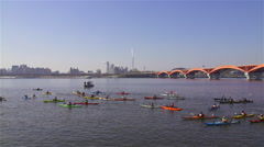 Scenery of Kayak at Seongsan Bridge in Seoul, South Korea Stock Footage
