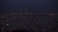 Dark Barcelona aerial panorama at night time. Dusk flat urban area Stock Footage