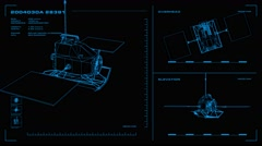 Looping, orthographic view of rotating wireframe model of Messenger spacecraft.  Stock Footage