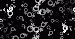Gender symbol icons in white on black Stock Footage