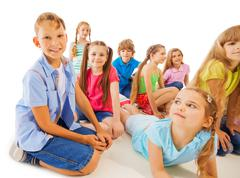 Funny 8 year old kids hang out Stock Photos