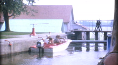Speed Boat Preparing To Go Through Locks-1967 Vintage 8mm film Stock Footage