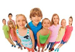 Large group of kids wide angle funny shoot Stock Photos