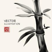 Traditional sumi-e background with bamboo. Stock Illustration