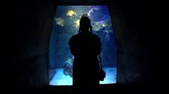 woman silhouett in front of an aquarium - Atlantis Resort, Bahamas - stock footage