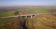 4K Aerial, Flight along a huge bridge in germany Stock Footage