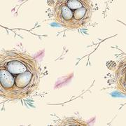 Stock Illustration of Watercolor natural floral vintage seamless pattern with nests,wr