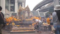 Erawan Hindu shrine in Bangkok , Thailand Stock Footage