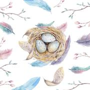 Hand drawn watercolor art bird nest with eggs , easter design - stock illustration