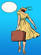 Lady traveler with suitcase - stock illustration