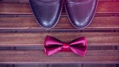 Elegant bow tie groom, wedding Stock Footage