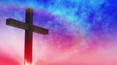 Calvary cross of Christ and sun rising sky background.mp4 - stock footage