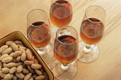 Sherry and almonds Stock Photos