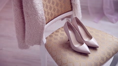 Beautiful bridal shoes in sunlight Stock Footage