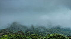 Fog over the mountain gorge and jungles in Cameron Highlands, Malaysia Stock Footage
