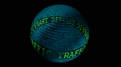 Web traffic spinning globe - stock footage
