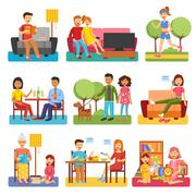 Family Flat Icons - stock illustration