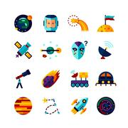 Space Symbols Flat Icons Set - stock illustration