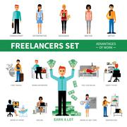 Freelancers Set With Advantages of Work Stock Illustration