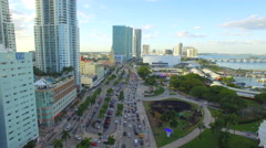 Flying over Downtown Miami Stock Footage