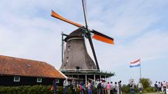 Zaanse Schans Nederlands windmills low angle. Iconic landmark in the north Stock Footage
