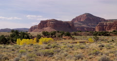 Landscape panorama at the entrance to Capitol Reef National Park, Utah Stock Footage