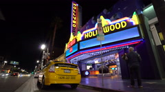 Stock Video Footage of  Hollywood boulevard by night. Walk of famous-Los Angeles
