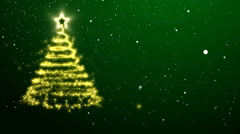 Abstract Christmas tree of golden lights appearing in the snow Stock Footage