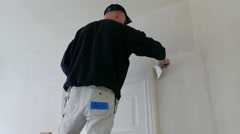 Plasterer at work. Room renovation - stock footage