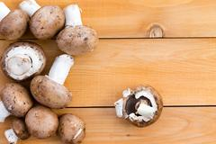 Fresh organic baby bella mushrooms Stock Photos
