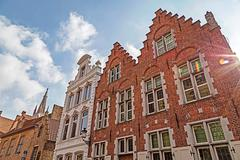 Architectural facade detail at old buildingas placed in Bruges, Belgium - stock photo