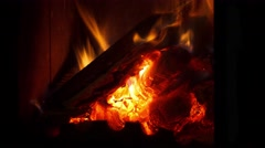 Firewood in the fireplace time lapse - stock footage