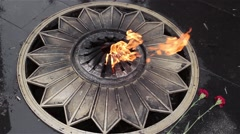 Stock Video Footage of Eternal flame on the monument to unknown soldier of World War II