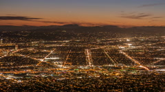 Burbank and Los Angeles Dusk Time Lapse with Zoom Out Stock Footage