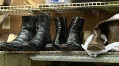 Shoe Repair Shop Inventory shelf Stock Footage