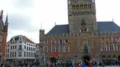 Grote Markt, Bruges, Belgium. Unesco world heritance Stock Footage