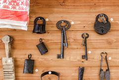 Old lock, keys and other items - stock photo