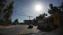 Stock Video Footage of Driving down Collins Ave 1 (HD)