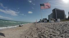 American Flag on Miami Beach - Slo-mo (HD) - stock footage