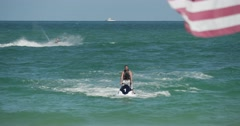 Jet Ski Ocean with American Flag - stock footage