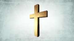 Calvary Gold cross of christ light background.mp4 - stock footage