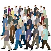 Big crowd of men moving to the common direction - stock illustration