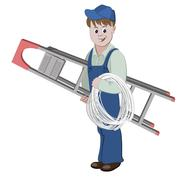 Illustration of electrician or cable guy standing with a ladder and a cable Stock Illustration