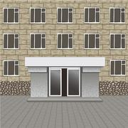 Front of building, entrance with empty signboard for your name, pavement Stock Illustration