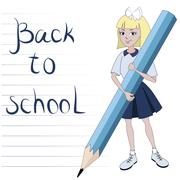 Stock Illustration of Student girl with great pencil