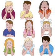 Set of nine young children leaning on they elbows Stock Illustration
