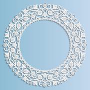 Stock Illustration of 3D Vector paper frame, vignette with ornaments, floral ornament