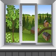 View from window of landscape of town from hill. Summer Stock Illustration