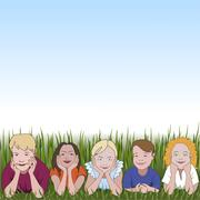 Five young children leaning on they elbows on grass and space for text above - stock illustration